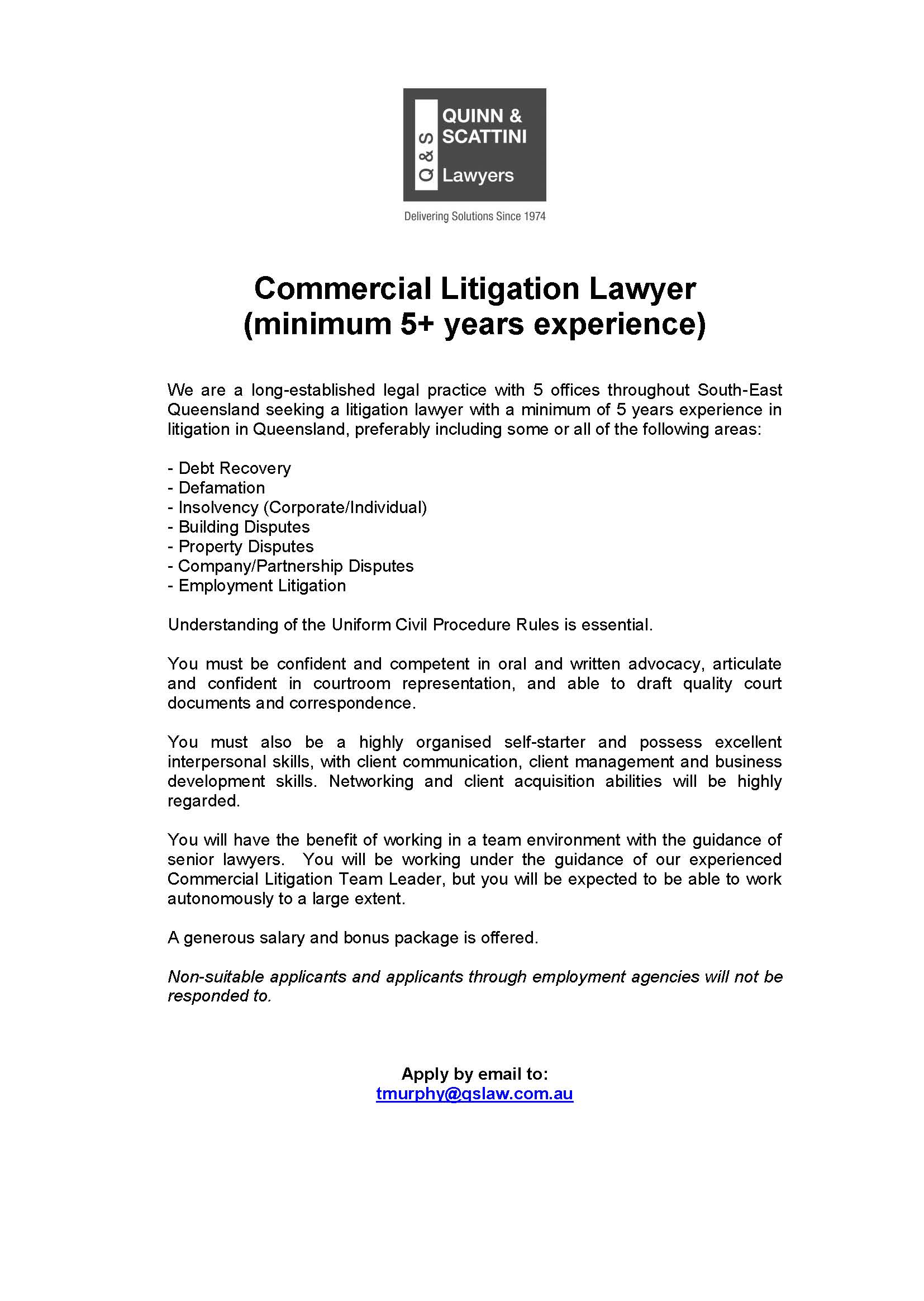 Commercial Litigation Lawyer Hiring